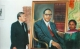 The Acting Dean Dr. Aieslie T. Embece and Mrs. Basanji Chaudhari standing with the portrait which is in the Reading Room of Southern Asian Institute. The Dr. Ambedkar Memorial Committee,  Wolverhampton,  presented this portrait to Columbia University. (The painting is by the Indian artist G. S. Nagdere)