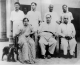 A group photograph with associates. Savita Ambedkar and their pet dog is seen in the picture