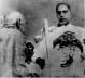 Dr. Ambedkar being administered 'Dhamma Deeksha' by Bhante Chandramani (from Kushinara) at Nagpur on 14 October 1956